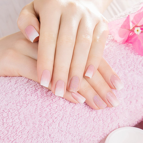 Pink & White Powder Nails